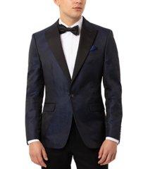 tallia orange men's slim-fit navy blue snakeskin-pattern evening jacket