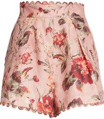 women's zimmermann cassia floral print rouleau linen shorts, size 2 - pink