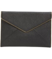 rebecca minkoff leo envelope clutch - black
