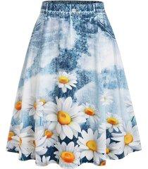 plus size sunflower print midi skirt