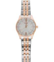 notting hill 3h orologio in acciaio bicolore con quadrante bianco e bracciale silver e rose gold per donna