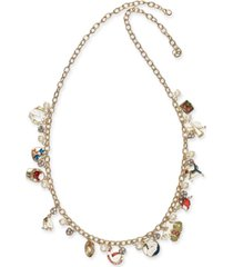 """holiday lane gold-tone crystal & imitation pearl 12 days 36-1/2"""" charm necklace, created for macy's"""