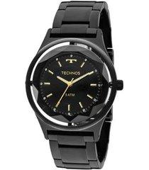 relógio feminino technos crystal 2035mib/4p pulseira aço preta