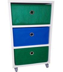 criado mudo 3 caixas organizadoras verde azul - azul/verde - dafiti