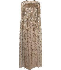 jenny packham mercedes sequined cape dress - gold