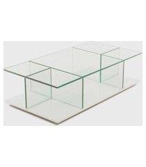 mesa de centro bauhaus 140x70x32h base espelho prata vidrotec