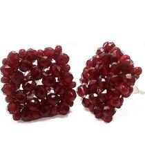aretes cuadrados en cristal y chaquira rojo