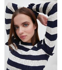 motivi maglia traforata a righe donna blu