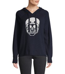 360 sweater women's skull cashmere hoodie - royal - size xs