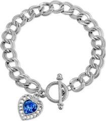 2028 sapphire swarovski elements heart toggle bracelet