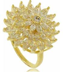 anel cascata com raios de luz em zircônias 3rs semijoias dourado - kanui