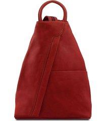 tuscany leather tl140963 shanghai - zaino in pelle morbida rosso