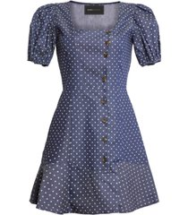bcbgmaxazria puff-sleeve fit & flare mini dress