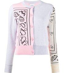 barrie bandana pattern cardigan - pink