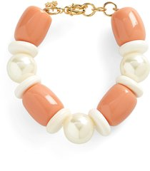 lele sadoughi monaco imitation pearl & shell bracelet in coral at nordstrom