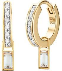 skinny diamond huggies and rock crystal baguette ear charm set