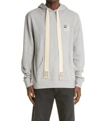 men's loewe anagram logo embroidered hoodie, size small - grey