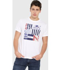 camiseta blanco-azul-rojo nautica