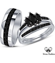 bride & groom marquise cut black diamond engagement ring wedding band trio set