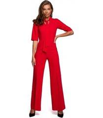 jumpsui style s243 elegante jumpsuit met een strikceintuur - rood
