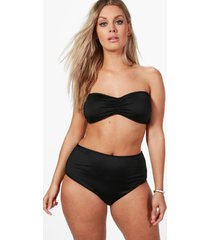 plus high waist bandeau bikini set, black