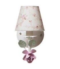 arandela 1 lâmpada flor potinho de mel rosa