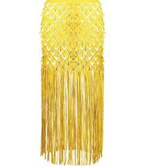 paskal fringe midi skirt - yellow