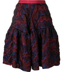 talbot runhof quilted metallic thread skirt - red