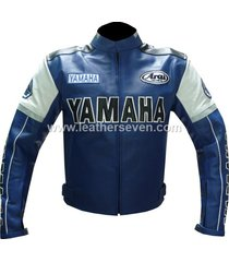 men mens yamaha 0820 blue leather motorcycle motorbike biker armour jacket