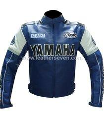 men mens yamaha 0820 blue leather motorcycle motorbike biker armour jacket