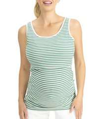 angel maternity stripe ribbed maternity/nursing tank, size xx-large in green at nordstrom