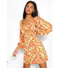 floral print volume sleeve dress, orange