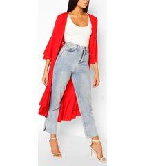 ruffle sleeve & hem kimono, red