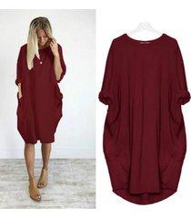 s-5xl verano vestido suelto midi de bolsillo mujeres diseño básico-rojo