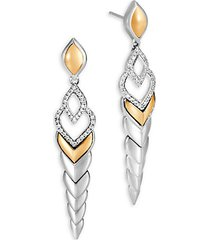 legends naga diamond pave & 18k gold long drop earrings