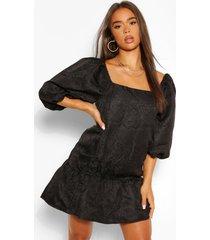 gesmokte jacquard jurk met pofmouwen, zwart
