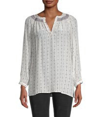 french connection women's almedi printed blouse - summer white - size l