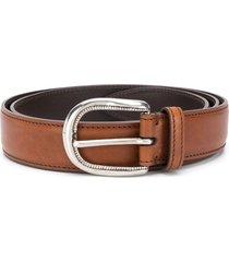 brunello cucinelli smooth buckle belt - brown