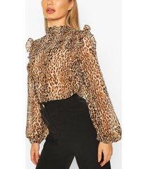 leopard shirred neck blouse, brown