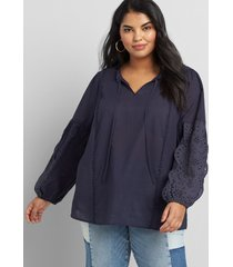 lane bryant women's embroidered peasant top 22 night sky
