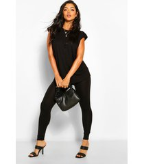 t-shirt met schouderpads en leggings set, zwart