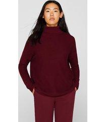 sweater oversize con textura de canalé burdeo esprit