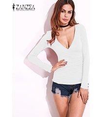 zanzea resorte de las mujeres blusas camisas con cuello en v bajo la manga larga del corte placas radiantes flaca delgada strech más el tamaño de suéter blanco -blanco