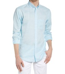 alton lane howard tailored fit cotton & linen button-down shirt, size xx-large in light green at nordstrom