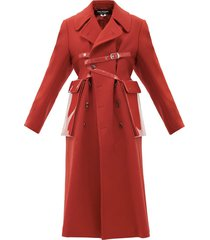 vinyl-strap patch-pocket felted-wool coat