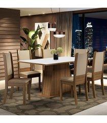 conjunto sala de jantar madesa adriana mesa tampo de madeira com 6 cadeiras marrom - marrom - dafiti