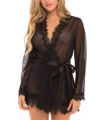 women's eyelash lace robe with satin sash and g-string