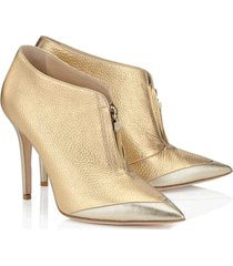 pb169 excellent martin booties, zipper front, genuine leather, size 4-8.5, gold