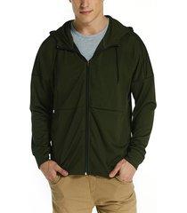 blioesy abrigo con capucha y cremallera de color sólido de manga larga fina de otoño para hombre