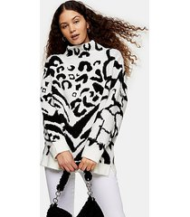 black and white mixed animal oversized sweater - monochrome